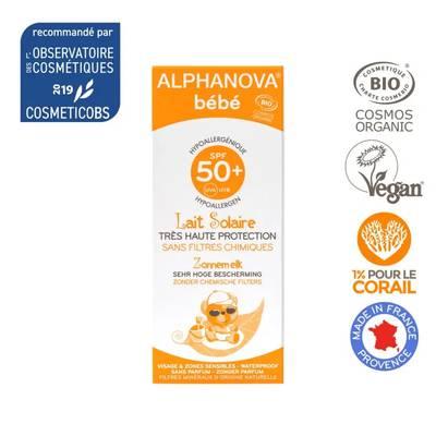 Crème solaire bébé hypoallergénique SPF 50+ - ALPHANOVA BEBE - Solaires