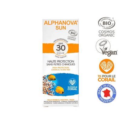 Crème solaire hypoallergénique visage SPF 30 - ALPHANOVA SUN - Solaires