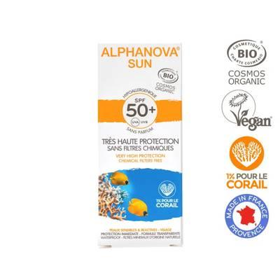 Crème solaire hypoallergénique visage SPF 50+ - ALPHANOVA SUN - Solaires