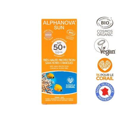 Crème solaire teintée medium SPF 50+ - ALPHANOVA SUN - Solaires
