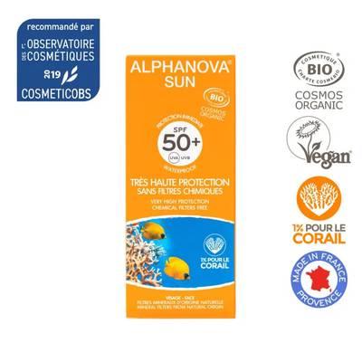 Crème solaire  très haute protection SPF 50+ - ALPHANOVA SUN - Solaires